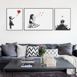 canvas prints banksy Canada - Modern Black White Banksy Poster Print A4 Urban Graffiti Wall Art Picture Hipster Home Decor Girl Peace Canvas Painting No Frame