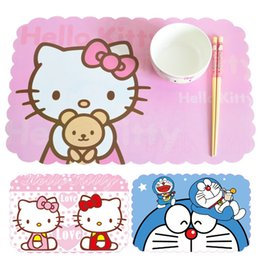 Pvc Bar Table Canada - Wholesale- 4 Pieces set 45x28.5cm High Quality PVC Hello Kitty Placemats Bar Restaurant Cartoon Modern Europe Plastic Table Mat Wedding