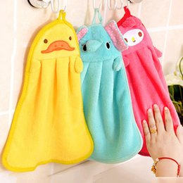 compress cartoon towel Australia - 200pcs Lovely Cartoon Children Hand Dry Towel For Kids Kitchen Bathroom Kid Soft Plush Fabric Hang Towel For Children Towels ZA0474