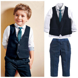 black tie waistcoat NZ - PrettyBaby 2016 boys clothes tie+shirt+vest+trousers England style little gentleman kids clothes high quality kids suits free shipping