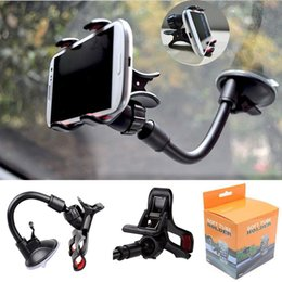 Wholesale 360 degree Car Windshield Mount Cell Phone Holder Bracket Stands For Samsung iPhone MP3 MP4 iPod GPS HTC Smart phonefor