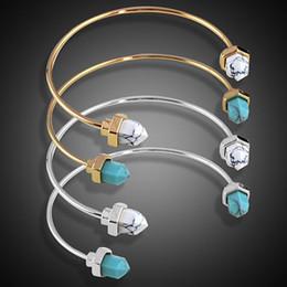 Inner Bezel Canada - Inner Dia 6cm Jewelry 2016 Hot Gold Turquoise White Adjustable Front Open Marble Stone Cuff Bangles Bracelet For Women