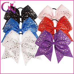 Dot Elastic Pas Cher-18 pcs / lot 7.5 pouces Polka Dots Printed Baby Girls 6 Solid Colors Archets Ruban Cheerleading avec élastique