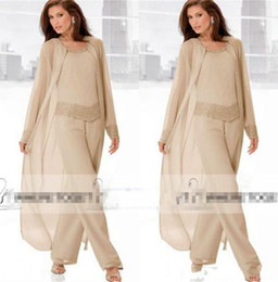 Discount plus size chiffon wedding jacket New Champagne Three Piece Mother of the Bride Pant Suits with Long Jackets Long Sleeves Beaded Chiffon Mother Plus Size Wedding Guest Dress