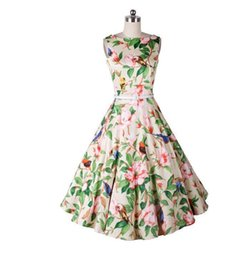 Discount women party clothing - Hot Summer Floral Casual Dresses 2016 Rockabilly Sleeveless Knee Length Audrey Hepburn Style Women Cheap Party Wear Clot