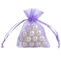 $enCountryForm.capitalKeyWord UK - 100 Pc Light Purple Organza Jewelry Gift Pouch Bags 7x9cm (2.7X 3.5 inch) cream-colored Drawstring Bag Organza Gift Candy Bags DIY Gift Bags