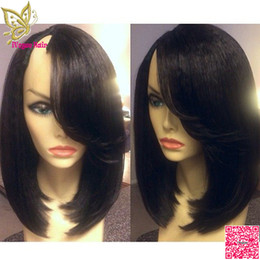 "$enCountryForm.capitalKeyWord Canada - Short Light Yaki Straight Bob U Part Wig Human Hair Brazilian Upart Wigs Right Side Part 1""X3"" Bob Style for Black Women"