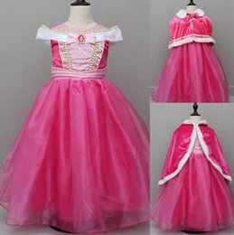 S'habille Pour Dormir Pas Cher-Halloween Sleeping Beauty Aurora Princes DressesGirls Cosplay Costume Party Robe rose Cape Aurora Fancy Party Dress OOA2425