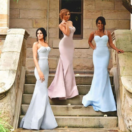 Barato Cintas De Vestido Rosa Claro-2017 New Arrival Sexy Spaghetti Straps Mermaid Country Vestidos de dama de honra Rose Pink Light Sky Blue Silver Wedding Party Dress