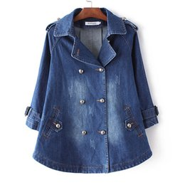 $enCountryForm.capitalKeyWord UK - Christmas gift for 2015 Autumn Winter Plus Size Denim Cape Jacket Women Outwear 3 4 Sleeve Turn-down Collar Double Breasted Jeans Long Dress
