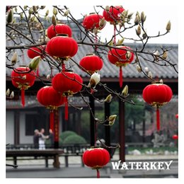 Chinese Pendant Lanterns Canada - Chinese Pendant lanterns Festival decorations Party supplies Chinese Lanterns Red Wedding parties Toy Flocking lantern Three sizes SMALL