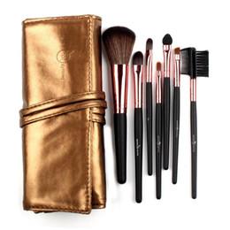 $enCountryForm.capitalKeyWord Canada - High Quality 7 Makeup Brush Set in Sleek Golden Leather-Like Case Portable Make up Brushes
