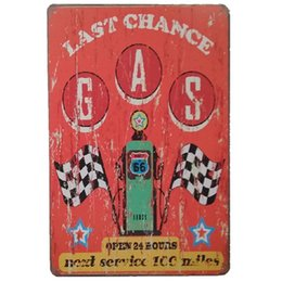 wholesale antique tin signs UK - LAst Chance Gas Oil Station Retro rustic tin metal sign Wall Decor Vintage Tin Poster Cafe Shop Bar home decor