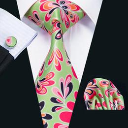 Black Green Tie Canada - Mens Silk Ties Red Green Mix color Floral Business Wedding Neck Tie Set Include Tie Cufflinks Hankerchief Necktie N-1221
