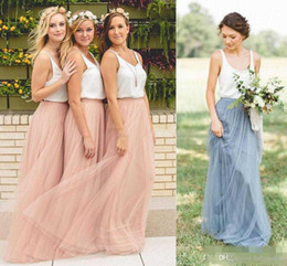 Discount dress pick up lines - 2017 Country Style Bridesmaid Dresses Beach Cheap Sleeveless V-neck Blush Tulle Long Maid of the Honor Dresses Custom Ma
