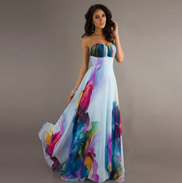 Cheap Bridesmaid Dresses Long 3 Designs Sweethear Flower Pattern Floral  Print Chiffon Evening Dress Gown Party Long Prom Dresses Under 50 4c2d2169b082