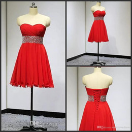Strapless Sequin Red Dress Australia - 2017 red Strapless Chiffon short cocktail party Dress Sleeveless sash sequin Beading A-Line Back Lace-Up Graduation homecoming Dresses