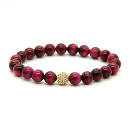 tiger eyes bracelet 2019 - 10pcs lot Hot Sale 8mm A Grade Rose Tiger Eye Stone Beads with 9mm Micro Paved Turquoise Cz Ball Beaded Premium Bracelet