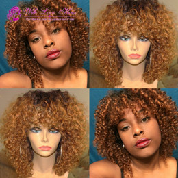 tone hair color lace fronts Australia - ombre 1b 30 bob human hair wig full lace wig lace front wig ombre color two tone kinky curly bob wig for women