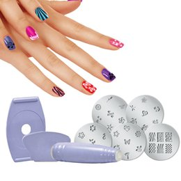 Planchas De Clavo Express Salón Baratos-Al por mayor-Nail Art Decorations Plate Stamping dispositivo DIY Set de manicura Salon Express Nail Art Polaco Stamping Stamper Scraper FE # 8