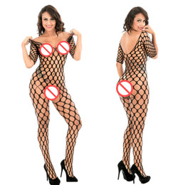 Wholesale mesh lingerie bodysuit for sale - Group buy Pantyhose Mujer Sexy Woman Fishnet Fence Jambo Net Diamond Mesh Long Sleeve Bodystocking Stockings Pantyhose Erotic Lingerie Bodysuit