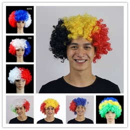Discount cosplay flags - European Cup Muti Country Flag color Afro Hair Wigs Football Soccer Fans Wig World Cup Sports Carnival Festival Cosplay