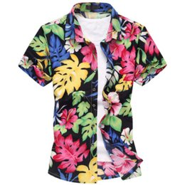 Mens Plus Size Silk Shirts Canada - Wholesale-2016 Fashion Mens Short Sleeve Silk Hawaiian Shirt Plus Size M-6XL Summer Casual Floral Shirts For Men