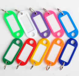 Vente en gros DIY Hotel Home Blank Key Valises de classification Tags Langue en plastique Keychain ID Nom cartes étiquettes avec anneau 100 PCS / Lot