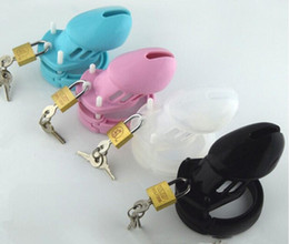 Petits Anneaux De Chasteté Pas Cher-2017 La plus récente petite cage de coq en silicone doux et de silicone avec 5 Size Penis Ring Chastity Belt Device Bondage adulte BDSM Sex Toy 4 Color A122