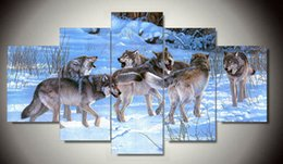 $enCountryForm.capitalKeyWord Canada - 5 Piece Free Shipping Cheap abstract Modern Wall Painting Animal Wolf Home Decorative Art Picture Paint on Canvas Prints F 1268