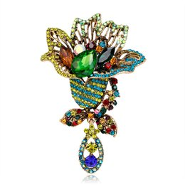 $enCountryForm.capitalKeyWord UK - Luxury Crystal Rhinestones Brooches for Women Fashion Colorful Flower Brooch Pins Vintage Jewelry Wedding Party Scarf buckle