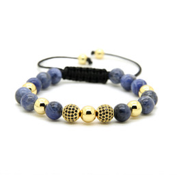 blue veins stone 2019 - Mens Jewelry Wholesale 10pcs lot 8mm Natural Blue Veins Stone Beads & 9mm Micro Paved Black Cz Ball Macrame Bracelet che