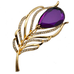 delicate fashion jewelry UK - 2016 EUROPE New Listing Fashion Delicate rhinestone leaf Brooch For Jewelry Wholesale Pins brooch big size 106x59mm