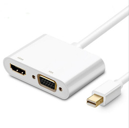Chinese  2 In 1 Thunderbolt Mini Display Port MINI DP To HDMI VGA Audio Adapter 4k*2k Converter Cable For Apple MacBook Air Pro manufacturers