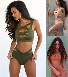 Badeanzug solide Sexy Monokini zweiteiliger Badeanzug Beach Wear Bademode Frauen baden Hohl Bikini passt Badeanzug für Frauen im Angebot