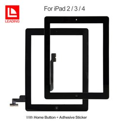 apple home button stickers Australia - For iPad 2 3 4 Touch Screen Glass Digitizer Assembly with Home Button with Adhesive Glue Sticker Replacement Repair Parts Free Shipping