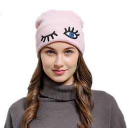 Eye Beanies NZ - Women Girls Funny Eye Embroidered Baggy Knitted Beanie Cuff Hat Autumn Winter Soft Beanies Bonnet Skull Hat Naughty Casual Cap Top Quality