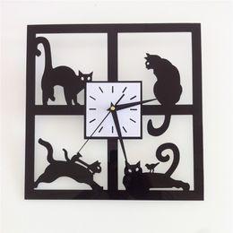 $enCountryForm.capitalKeyWord Australia - 3D mirror wall stickers wall clock Acrylic Creative Home Decor DIY black cat Removable Decoration Stickers 2017 wholesale Free delivery