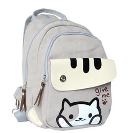 66cf3a1f59c7 Anime Neko UK - Anime Neko Atsume The Cat Backyard Canvas Backpack School  Bag Travel knapsack