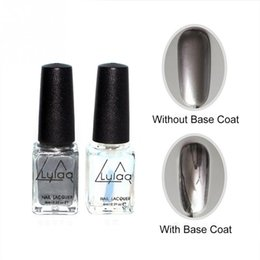 Ongles D'effet Pas Cher-LULAA 2pc / set 6ml Effet miroir en argent Gel métallique Vernis à ongles Gel Vernis Easy Peal Off Manteau de base Metallic Nail Art DIY Gel