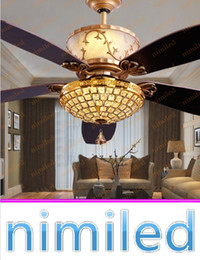 "hotel lobby chandeliers 2019 - nimi839 52"" Living Room Hotel Lobby Restaurant Luxury Ceiling Fans Lamp Remote Control LED Crystal Pendant Lights C"