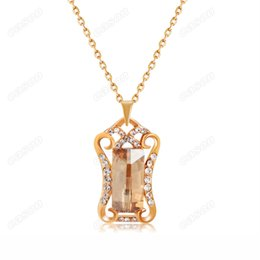 $enCountryForm.capitalKeyWord Australia - Brand Cason Hot Selling 18K Gold Plated Elegant Mirror Crystal Pendant Necklaces For Women Coffee Colour Wholesale Drop Shipping
