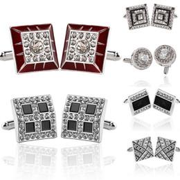 Crystal banquet online shopping - 7 Styles Crystal Cufflinks For Mens Shirt French Cufflink Wedding Suit Wedding Party Banquet Grooms Gentelmen Classic Cuff Links Enamel