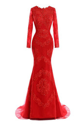 China Elegant Mermaid Red Evening Dresses vestidos de noiva Long Sleeves Scoop Neck Appliques Lace with Beaded Prom Gowns supplier cowl back long evening dresses suppliers