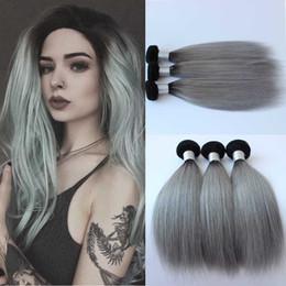 Gray bundles online shopping - New Arrival brazilian ombre silver grey hair weaving b gray two tone Brazilian human hair extensions hair bundles