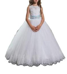 Custom elegant pageant sashes online shopping - Elegant Lace Bow Ball Birthday Girls Pageant Dress Sash Girl Communion Dress Kids Formal Wear Flower Girls Dresses for Wedding