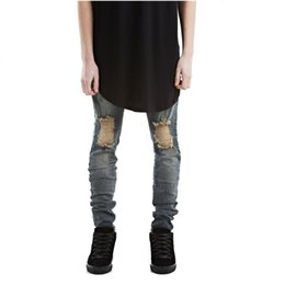 Chinese  ripped jeans for men skinny Distressed slim famous brand designer biker hip hop swag tyga white black jeans kanye west manufacturers