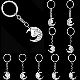 Discount keyring engraving New Style Engraving Letters Keyring Best selling Key Chains Family Gift Popular Bag pendant i love you to the moon and b