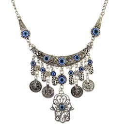 luck coins 2019 - Vintage Coin Tassel Chain Fatima hamsa Hand Pendants Necklace Luck Hand Turquoise Palm nice Necklace collares DHN102 che