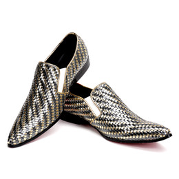mens flat heel leather slip shoes UK - Fashion Woven formal mens dress shoes genuine leather luxury gold color wedding shoes men flats office for male